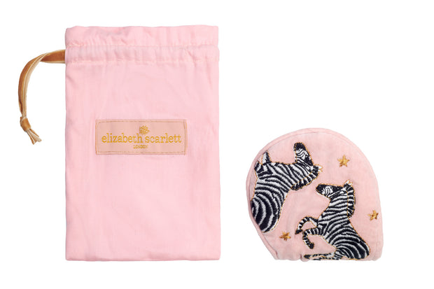 Zebra Velvet Eye Mask - Pink