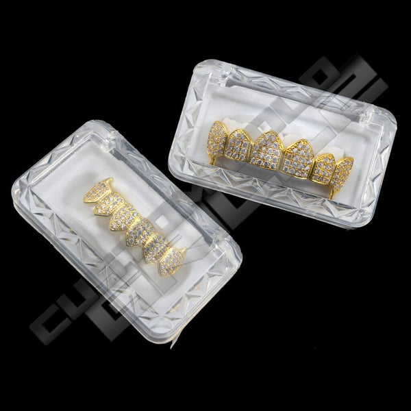 Gold Plated Fanged CZ Cluster Premium Grillz Instantly-Made with Box