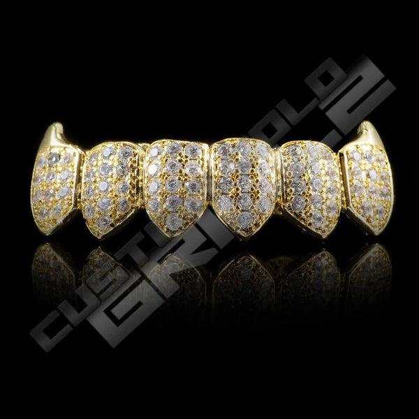 Gold Plated Fanged CZ Cluster Premium Grillz Instantly-Made Bottom Front View