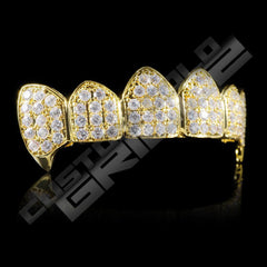 Gold Plated Fanged CZ Cluster Premium Grillz Instantly-Made Top Side View