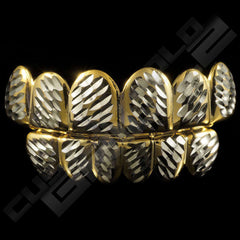 Gold Plated Silver Diamond Cut Grillz Instantly-Made Main