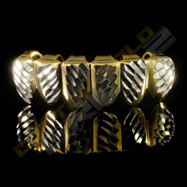 Gold Plated Silver Diamond Cut Grillz Instantly-Made Bottom Front View