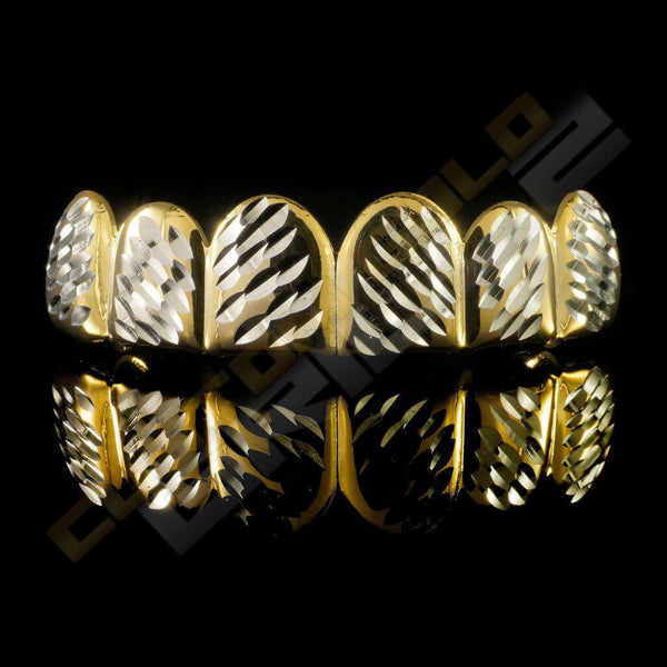 Gold Plated Silver Diamond Cut Grillz Instantly-Made Top Front View