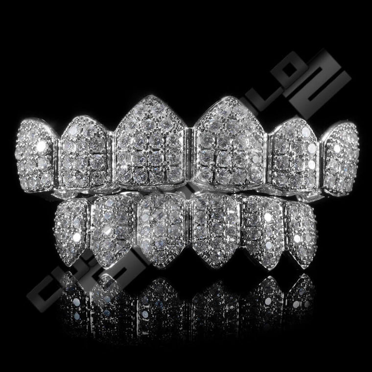 [PRE-MADE] White Gold Plated CZ Cluster Premium Grillz