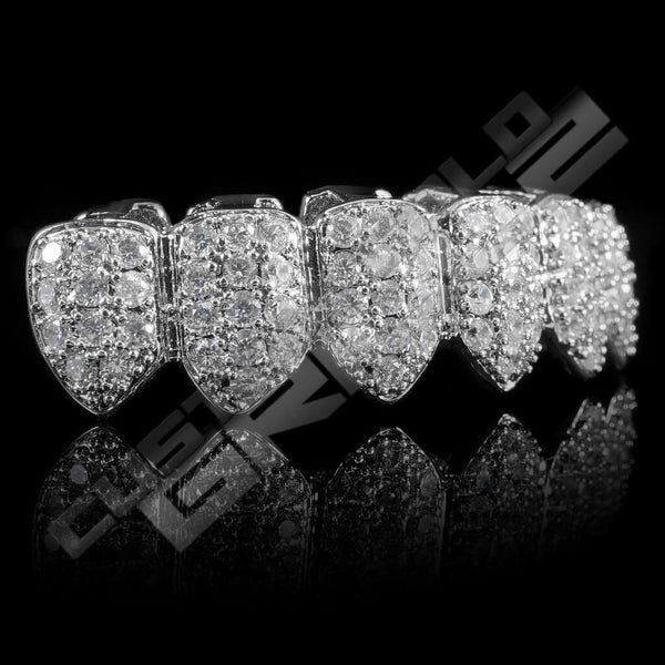 White Gold Plated CZ Cluster Premium Grillz Instantly-Made Bottom Side View