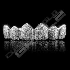 White Gold Plated CZ Cluster Premium Grillz Instantly-Made Top Front View