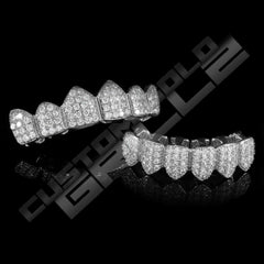 White Gold Plated CZ Cluster Premium Grillz Instantly-Made Top and Bottom View
