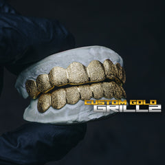[CUSTOM-FIT] Solid Gold Diamond Dust Grillz