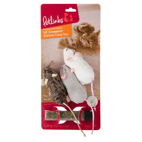 Lil Creepers, Mice Cat Toys - 3 Pack, gray/white
