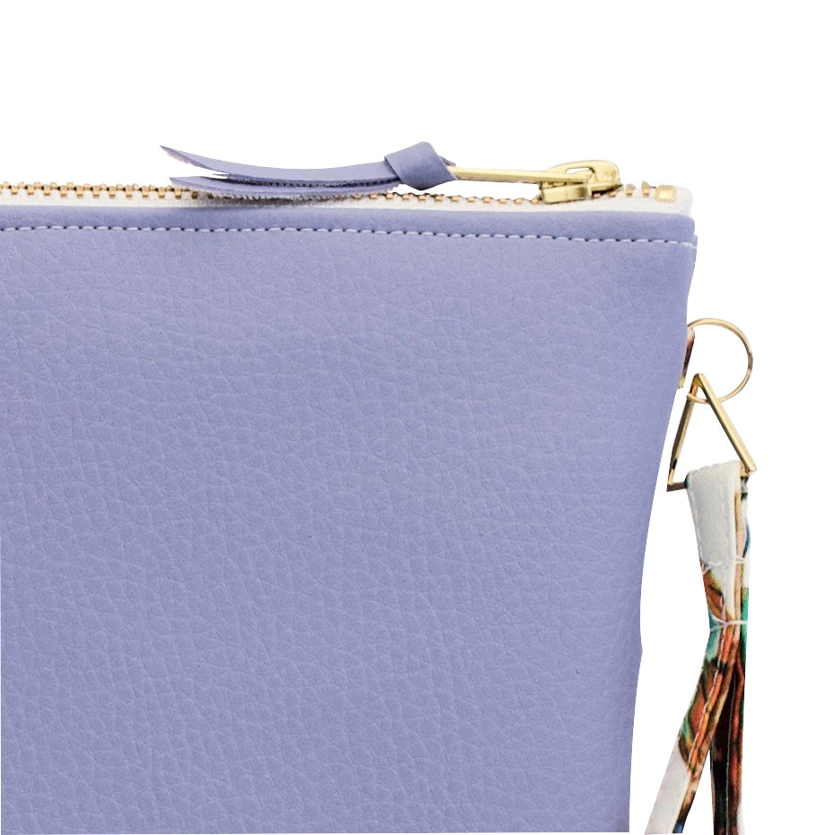 Lilac Clutch Bag from Faux Leather with Water Resistant Lining
