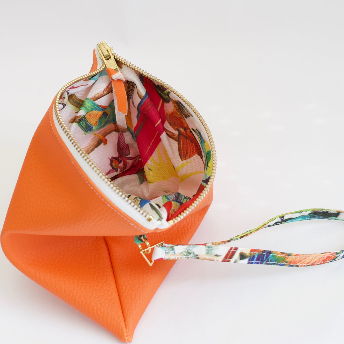 Limited Edition Orange Clutch Bag from Faux Leather with Water Resistant Lining