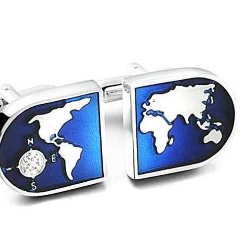 Novelty World Map Cufflinks - Unique Gifts for Men - Gifts for Travelers