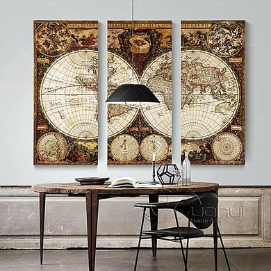 3 Panel Vintage World Map Wall Art Home Decor Gifts for Travelers