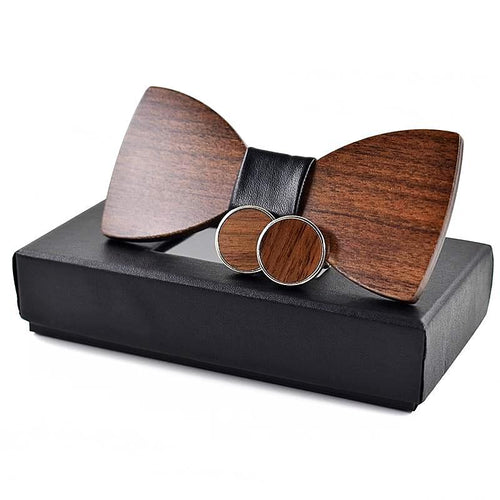 Wooden Wedding Bow Tie and Cufflinks Set Unique Gifts for Men