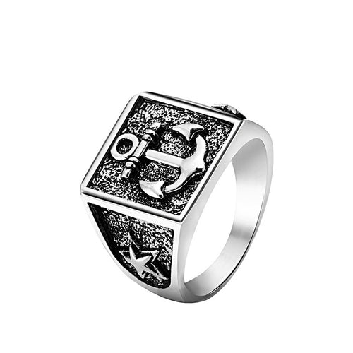 Vintage Square Anchor Ring For Men Gifts for Men Nautical Jewelry