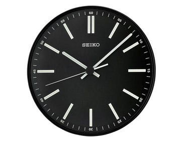 Seiko Luminous Wall Clock - Contemporary Black Dial | QXA521JLH