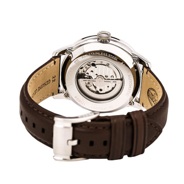 Fossil ME3061 Men's Townsman Automatic Black Semi-Skeleton Dial Brown Leather Strap Watch