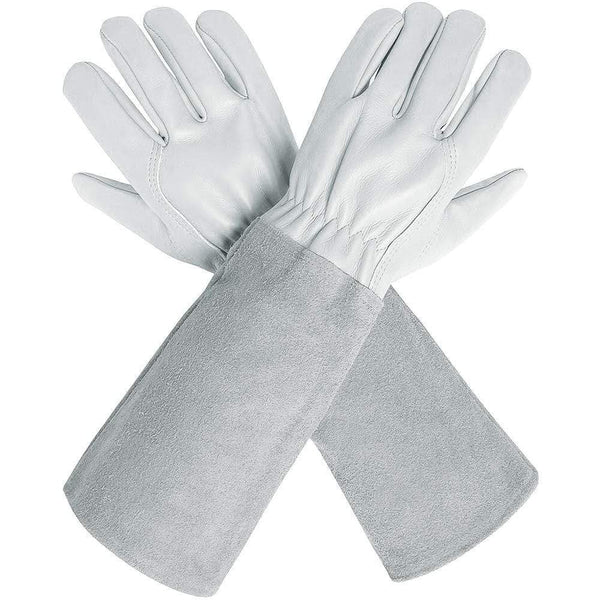 Green Valley Supply Small / White Extra-long Leather Sleeved Gloves