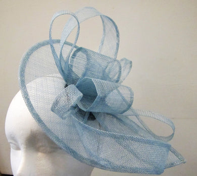 Handcrafted light blue bows teardrop fascinator on a hair band