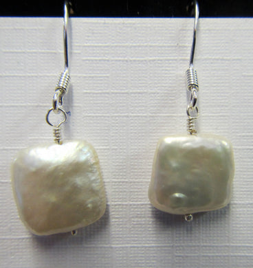 Sterling Silver square pearl earrings, approximately 3 cm in length