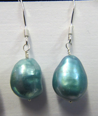 Sterling Silver Blue pearl earrings, approximately 3.5 cm in length