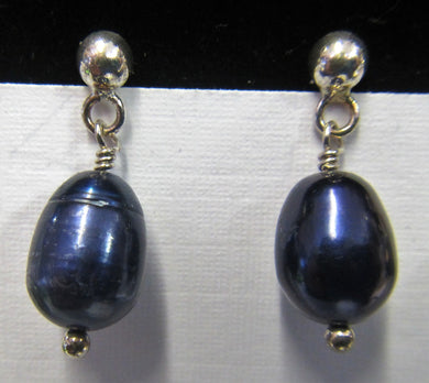 Sterling Silver blue pearl earrings, approximately 2 cm in length