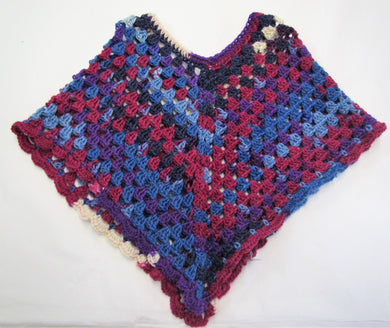 Handcrafted crochet blue and purple woollen child's poncho
