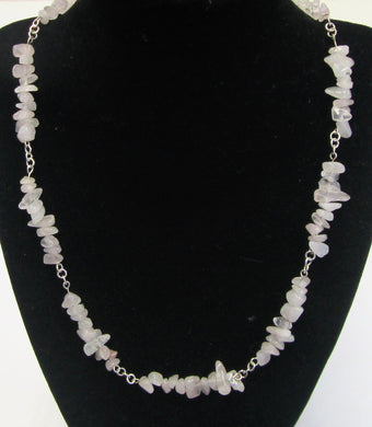 Beautiful handcrafted rose quartz nugget necklace with magnetic clasp