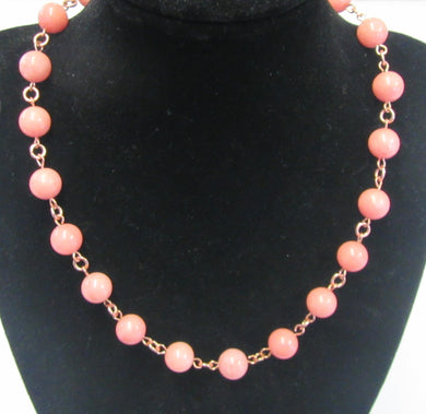 Beautiful handcrafted pink quartz knotted necklace with magnetic clasp