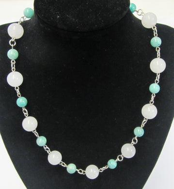 Beautiful handcrafted amazonite and quartz necklace with magnectic clasp