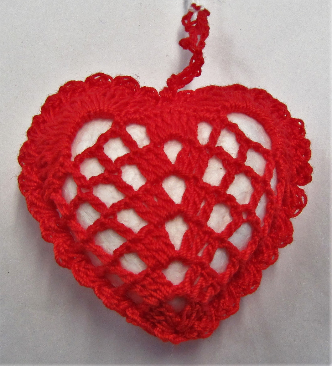 Beautiful hand crocheted red heart key rings