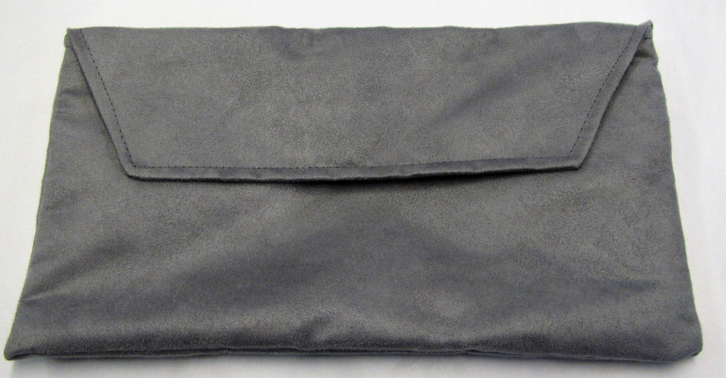 Beautiful handcrafted suede silvery grey clutch bag