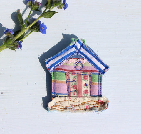 Candy striped Beach Hut Brooch