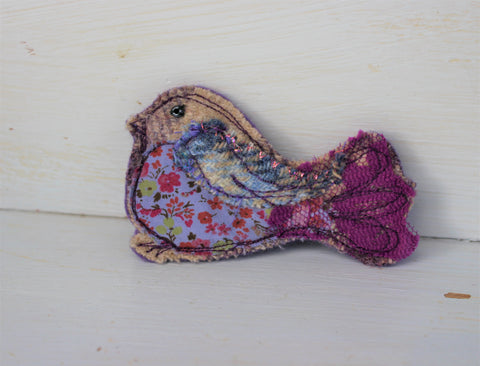 Blue purple floral Bird brooch