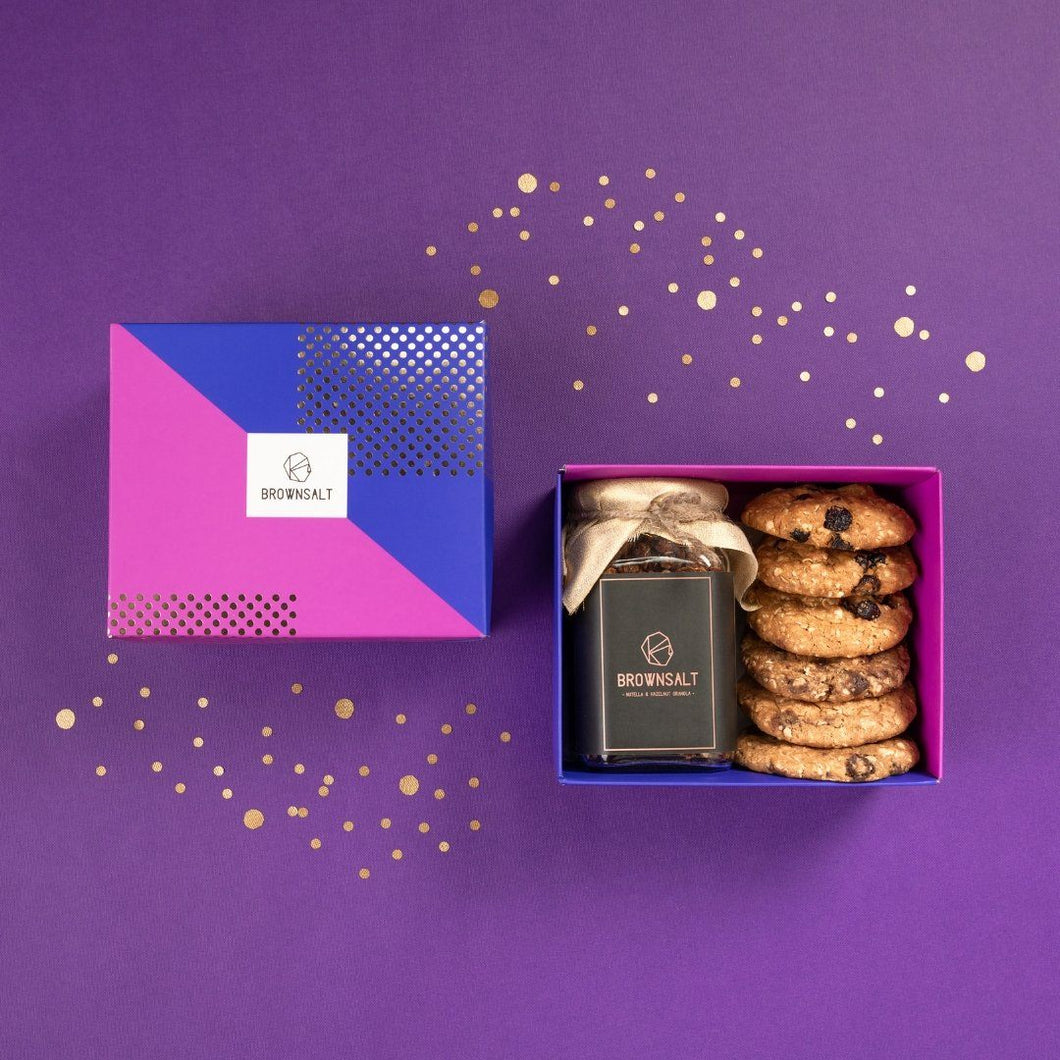 Gift Box - Set of 1 Granola Jar And 6 Assorted Cookies