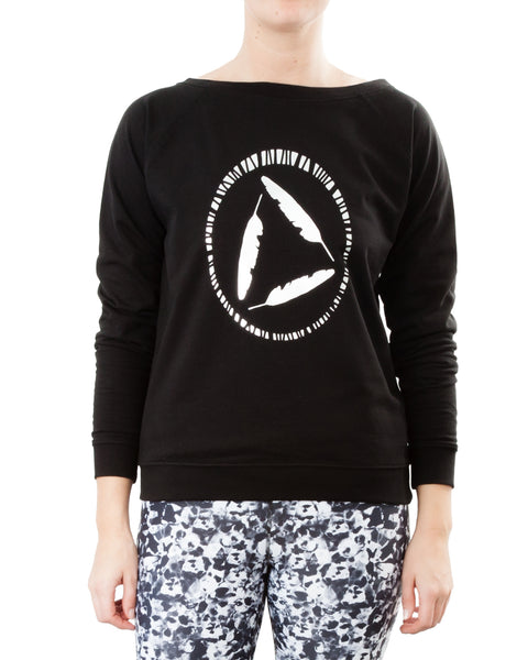 Black wide neck sweatshirt