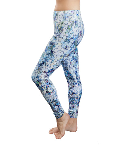 pennine yoga pants, a unique pattern with hexagons of various blue, green and earth colours