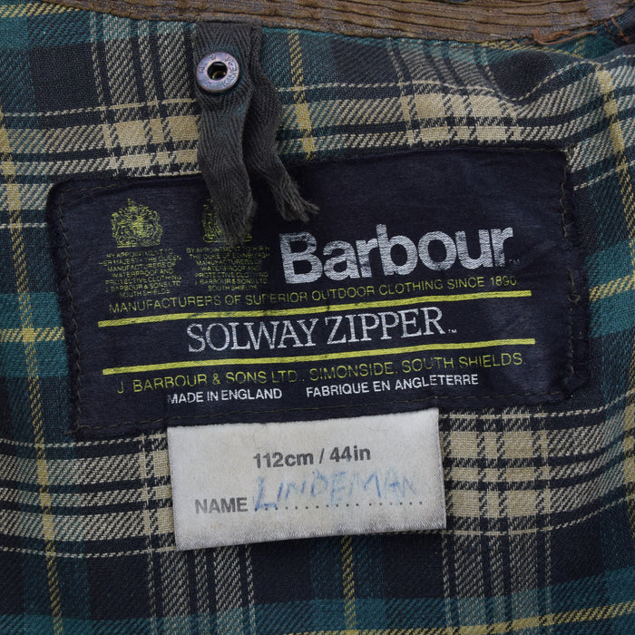 Vintage 80s Barbour A98 Solway Zipper Wax Jacket Coat With Belt UK Made L / XL label