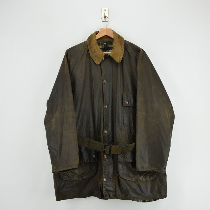 Vintage 80s Barbour A98 Solway Zipper Wax Jacket Coat With Belt UK Made L / XL front