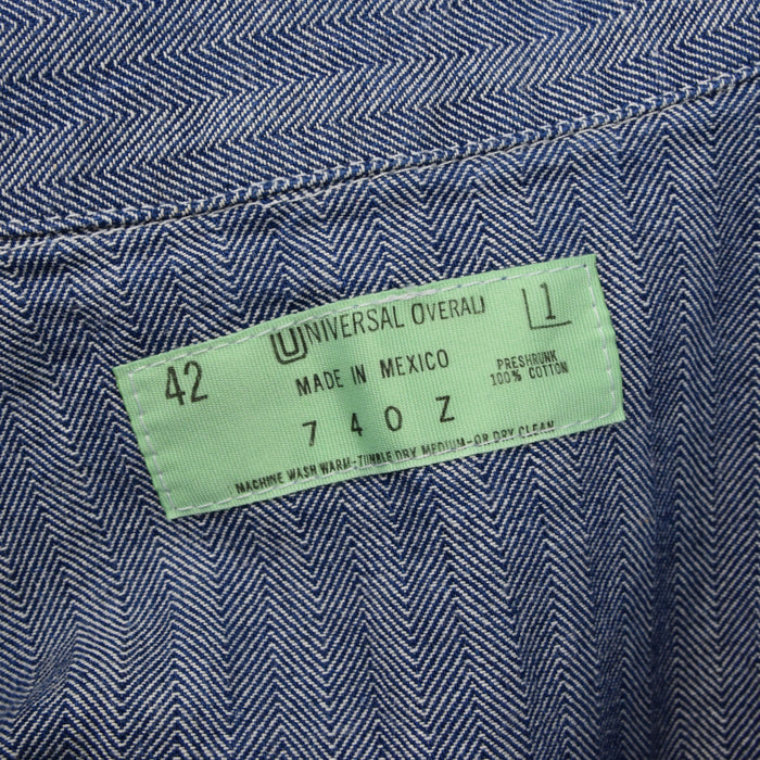 Vintage Universal Overall Workwear Coverall Blue Herringbone Boiler Suit L label