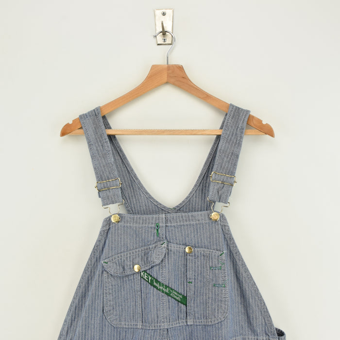 Vintage Key Imperial Aristocrat Overalls Blue Herringbone Work Dungarees L / XL chest