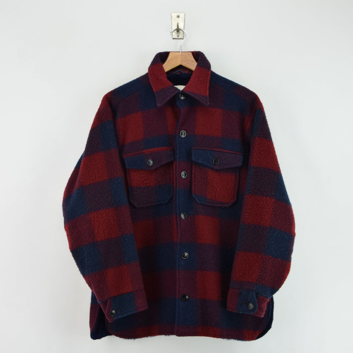 Vintage 70s Woolrich Buffalo Plaid Hunting Mackinaw Sherpa Shirt Jacket M / L front