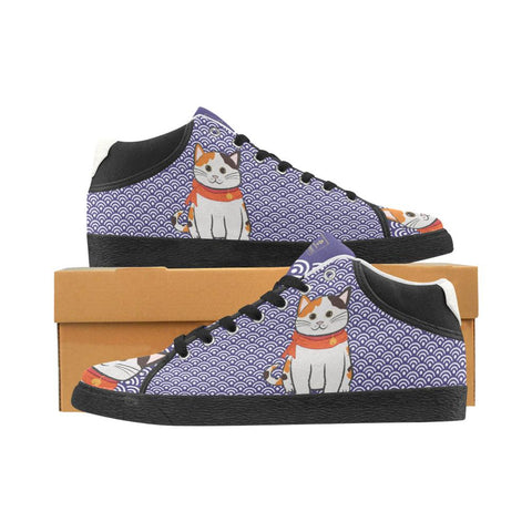 """Manekiko"" - Beckoning Cat Canvas Sneakers - Mens"
