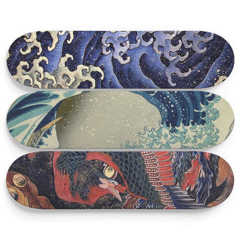 Hokusai Skateboard Collection Wall Art (3 Boards)