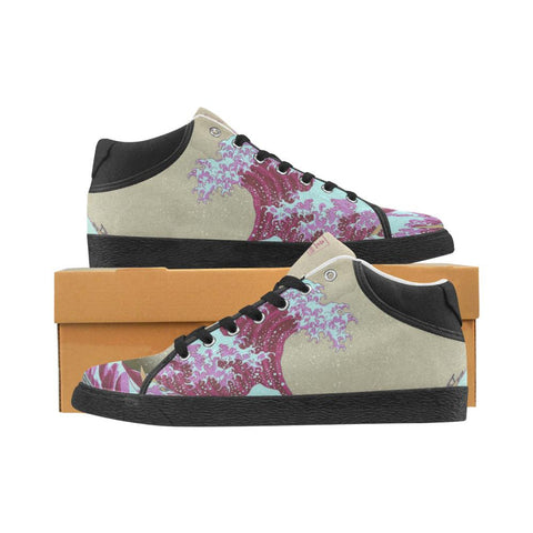 Pink Wave Off Kanagawa Canvas Sneakers - Womens