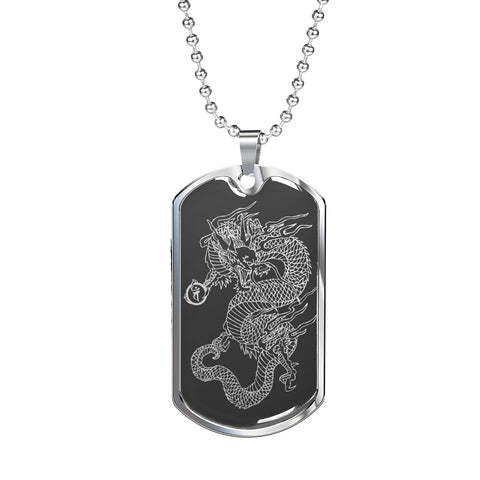 Dragon Ascended Dog Tag - Gray Base