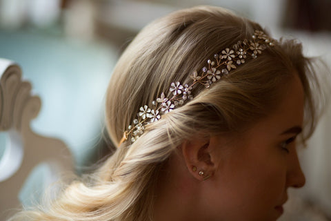 Gold Bridal Hair Adornment With Rhinestones Crystals