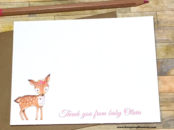 Fawn Personalized Thank You Cards