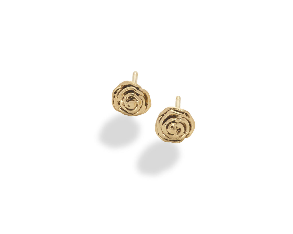 Rose Stud Earring 14K Yellow Gold- small