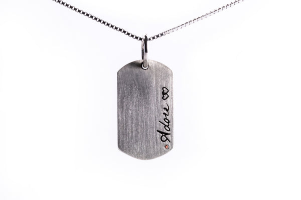 "Ronchelle ""Adore"" Dog Tag Sterling Silver Double Sided Pendant and Chain"